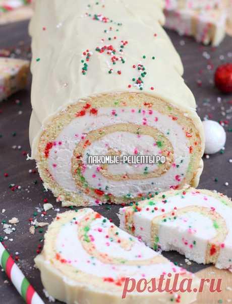 Рождественский ванильный рулет
