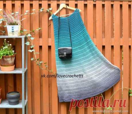 Градиентное платье филейной сеткой