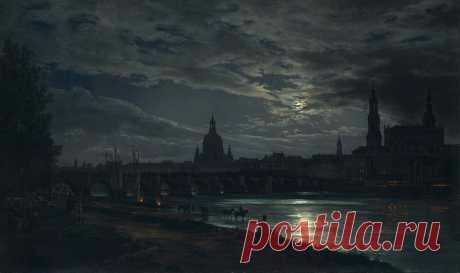 View of Dresden by Moonlight,  Johan Christian Dahl,  1839.