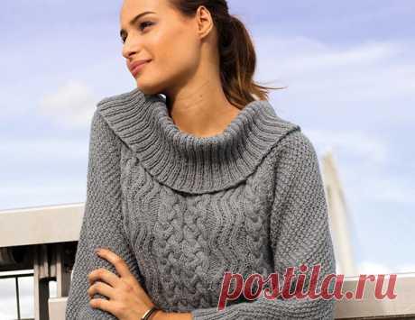 Вязаные свитеры с узором из кос Схемы  и описания вязания на спицах женских свитеров с узором из кос