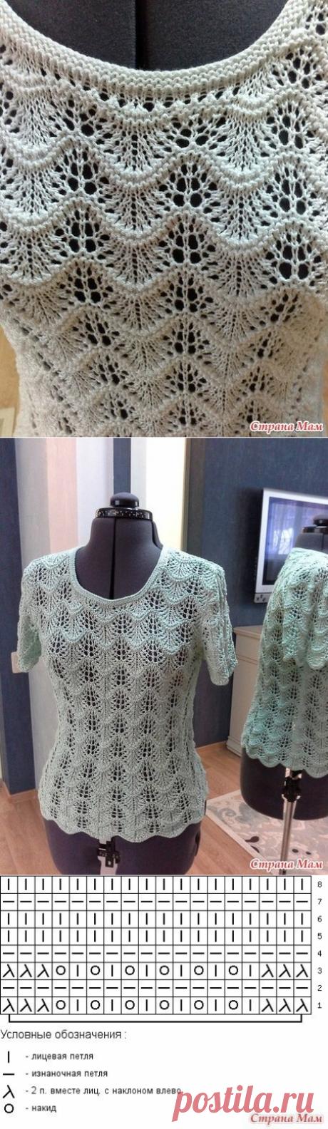 Вязание-спицы-ТОПЫ и кофточки с коротким рукавом