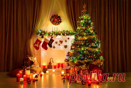Картинки Рождество Новогодняя ёлка Камин Подарки Свечи Гирлянда