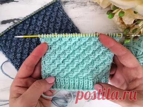 Рельефный простой узор спицами для вязания шапок, свитеров, кардиганов, джемперов