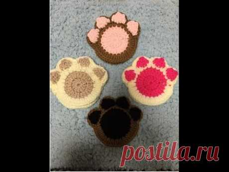 かぎ針編み・ぷにぷに肉球のアクリルたわし(コースター)Crochet /acrylic scrub sponge(palm of the cat) - YouTube