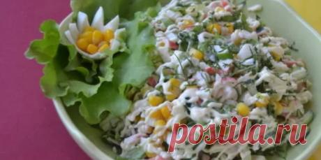 Крабовый салат с огурцом и кукурузой - 5 классических рецептов