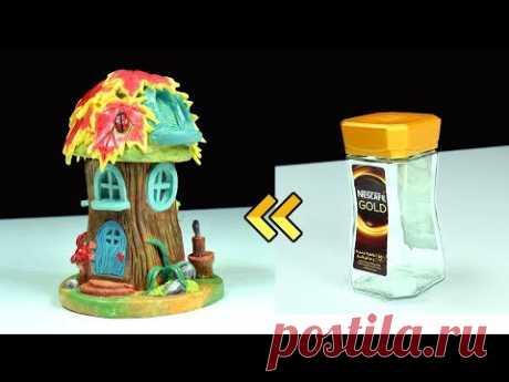 ♡ DIY Fairy Garden Log House Using Jar ♡ - YouTube