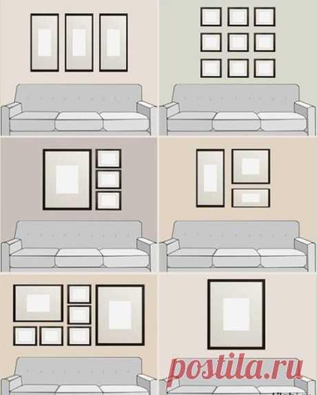 Как правильно вешать картины над диваном
