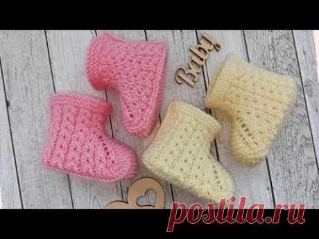 Бесшовные пинетки с узором вязаные спицами/baby booties knitting