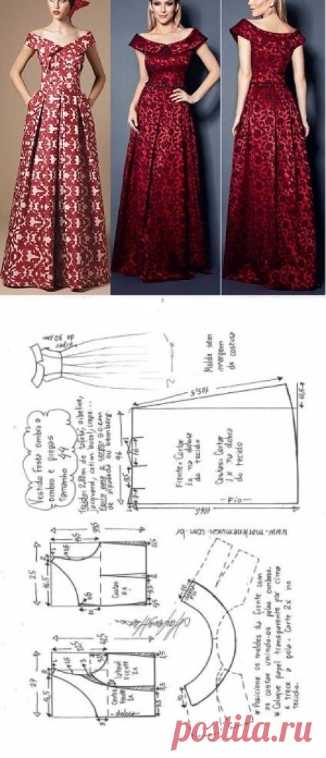 Vestido de festa ombro a ombro com saia pregueada | DIY - molde, corte e costura - Marlene Mukai