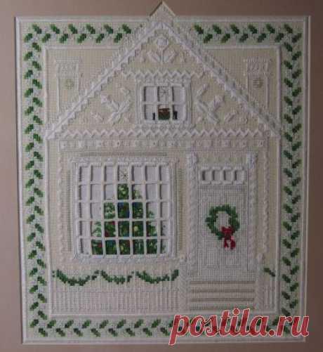 схема для вышивки крестом и хардангер домик в Рождество с использованием различных декоративных швов