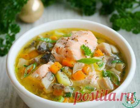Суп из лосося с грибами – кулинарный рецепт