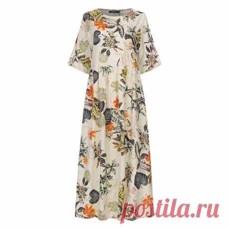 ZANZEA женское летнее платье на каждый день в винтажном стиле с цветочным принтом Сарафан пляжное вечерние Vestido костюм, накидка, Восточный халат Femme со средним рукавом из хлопка и льна, платье|Платья| | АлиЭкспресс
