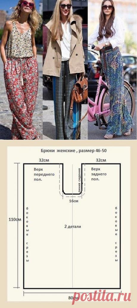 Портной • Шитье, переделки - легко!Простые брюки на завязках или резинке. Выкройка на 46-50 размер