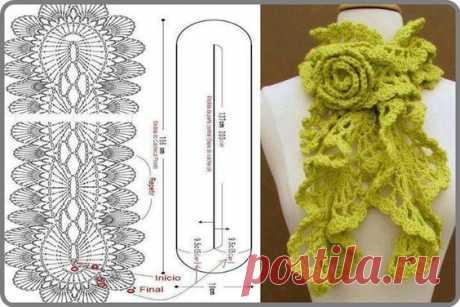 Яркой зелени цвета шарф с отделочной розой саязанные крючком. Схема