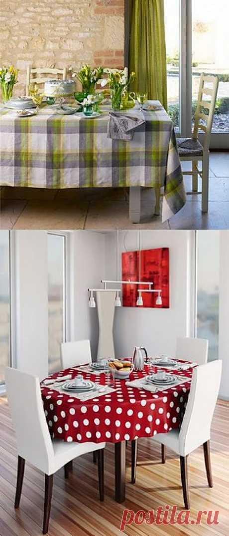 Цвет скатерти в кухне-столовой или гостиной-столовой должен вписываться в общую цветовую гамму помещения.