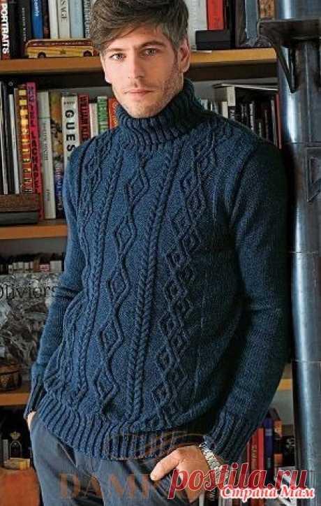 """Мужской свитер «Turtle» спицами Мужской свитер с высоким воротником выполнен рисунком из комбинации жгутов. Описание вязания свитера переведено из журнала """"Knitting Magazine"""".  Размеры:  S [M, L, XL, XXL]"""
