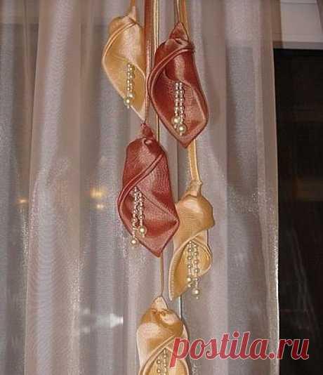 Цветы каллы из ткани для украшения штор / Вязание как искусство!