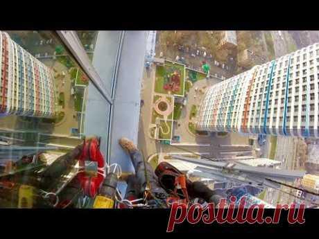 35 этаж алюминиевые окна - монтаж альпинистами - YouTube