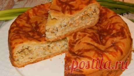 Заливной пирог с консервированной горбушей! Ароматно и вкусно!