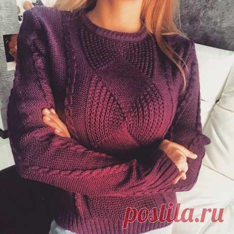 Три пуловера вязанные спицами очень красивыми узорами + схемы  Пуловер спицами красивым узором     Пуловер листики        Красивый свитер спицами «Французская зима» рельефным узором       источник