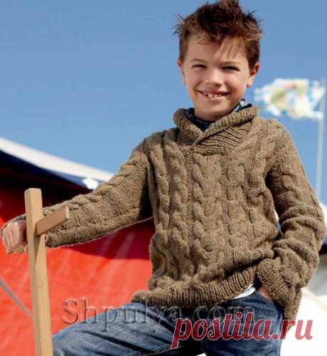 Свитер для мальчика с косами