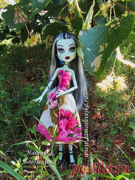 Летнее платье сшить для куклы Monster High (Школа Монстров) Френки Штейн   Самошвейка - сайт для любителей шитья и рукоделия