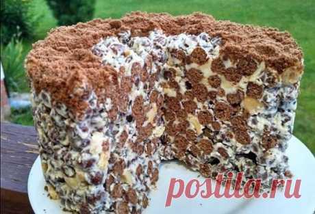 Хрустящий торт без выпечки за 20 минут