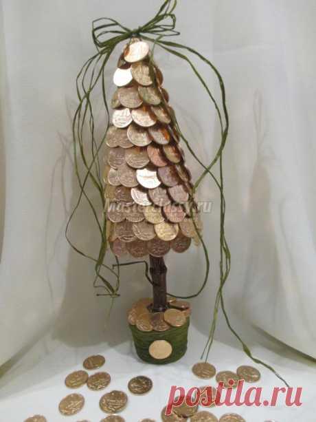 Ёлочка из монеток своими руками. Мастер-класс с пошаговыми фото