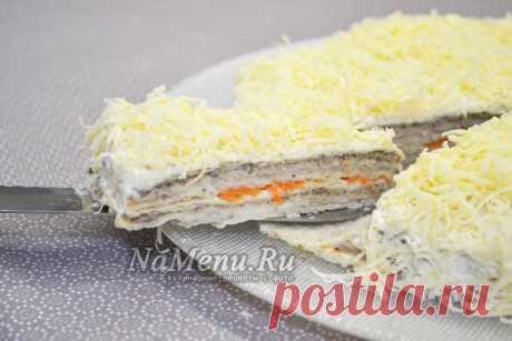Селедочный торт на вафельных коржах, рецепт с пошаговым фото