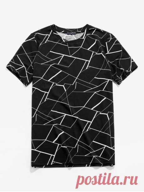 ZAFUL Geometric Print Short Sleeves T-shirt   BLACK [31% OFF] [NEW] 2020 ZAFUL Geometric Print Short Sleeves T-shirt In BLACK | ZAFUL    Style: Casual Material: Polyester Sleeves Length: Short Collar: Round Collar Pattern Type: Geometric Season: Summer Weight: 0.1800kg Package: 1 x T-shirt