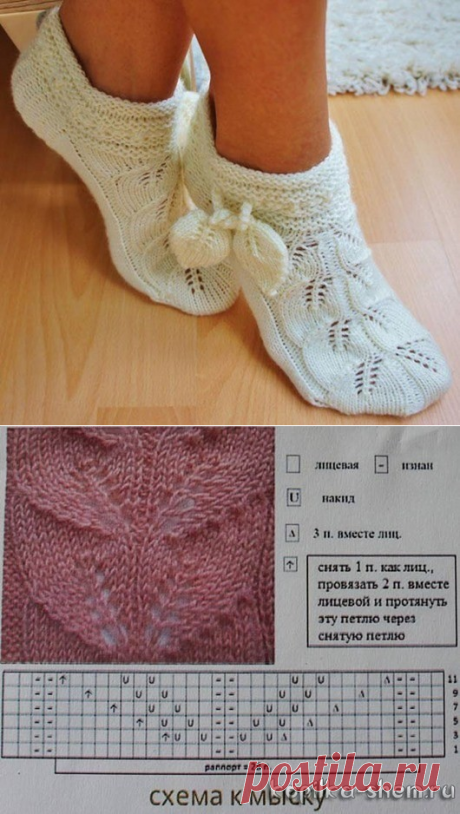 Really smart socks slippers, knitted spokes an openwork pattern from leaflets.