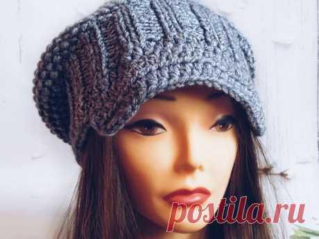 Вяжем шапку-кепи с козырьком | Журнал Ярмарки Мастеров