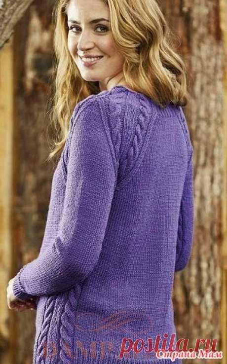 """Пуловер реглан «Purple Haze» Классический пуловер реглан с косами по всем швам окутывает фигуру как фиолетовый туман.  Описание вязания пуловера от дизайнера Ruth Maddock переведено из журнала """"Simply Knitting""""."""