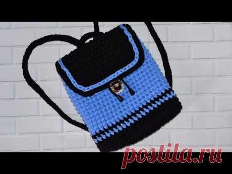 Рюкзак крючком из трикотажной пряжи. Backpack crochet