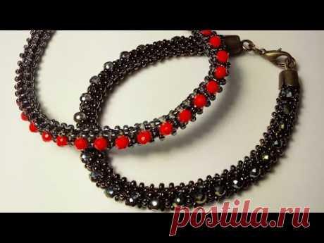Браслет из бисера и бусин. Bracelet from beads and beads