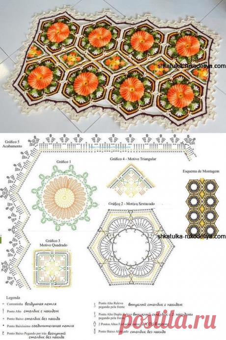 Коврик крючком обьемными цветами. Красивый коврик для дома мотивами   Шкатулка рукоделия. Сайт для рукодельниц.
