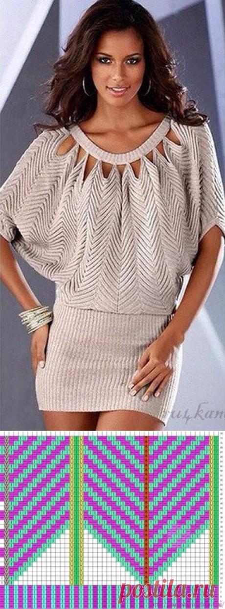 Оригинальное платье-туника с треугольными узорами