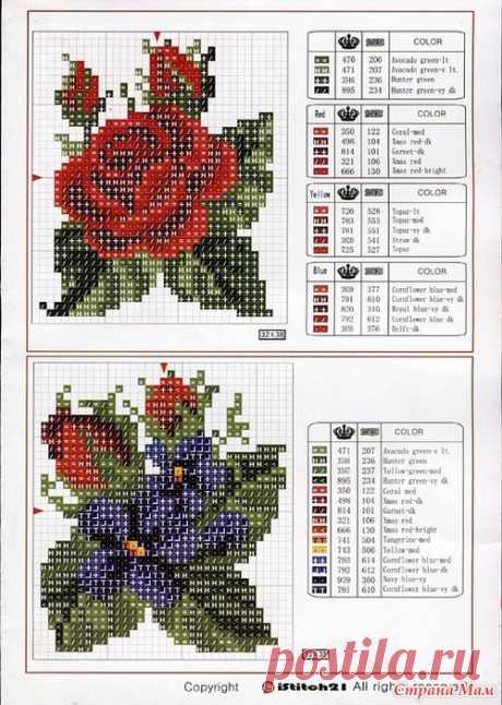Схемы вышитых роз - Вышивка и все о ней - Страна Мам