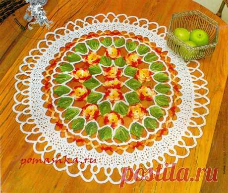 Яркая салфетка с цветами (Вязание крючком) — Ромашка — Вязание для всех