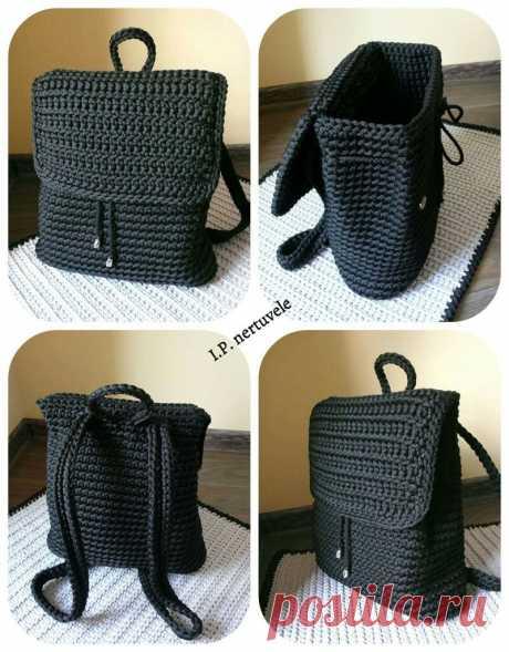Вязание крючком рюкзак шаблон вдохновение / вязание крючком сумка из Т-Шир пряжи-Salvabrani