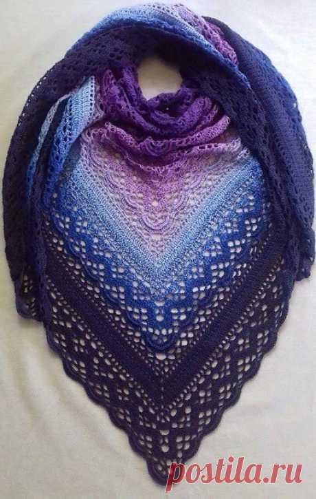 Вяжем шаль крючком — Красивое вязание