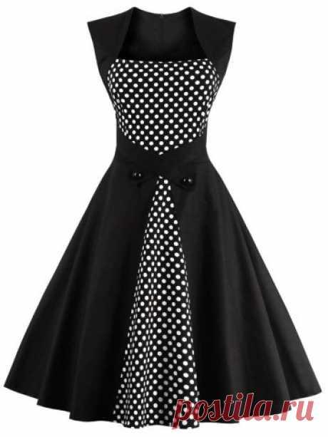 Черный Горошек Полуформальный Платье | RoseGal.com
