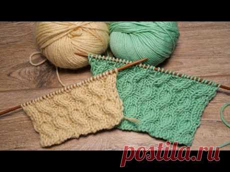 Диагональный узор из кос спицами 📌 Diagonal Cables knitting pattern