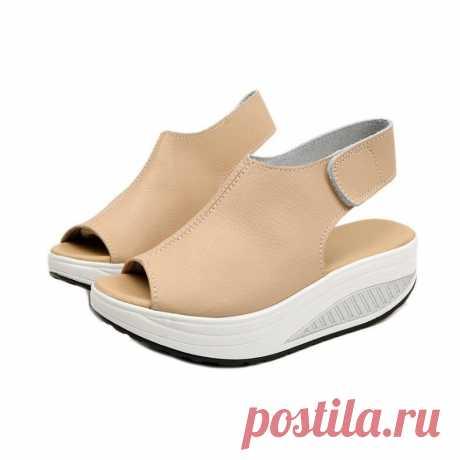 Босоножки женские женщин кожа толщиной платформа туфли лето плюс размер каблуки – купить по низким ценам в интернет-магазине Joom
