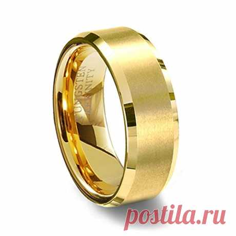 Gold Brushed Finish Tungsten Wedding Ring Beveled Edges 6MM Width • Get Fashion Jewelry 18k Gold Plated Tungsten Carbide Comfort Fit Band Hypoallergenic