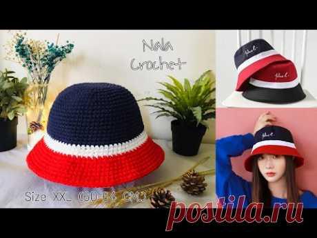 How to crochet bucket hat (biger size )#crochet bucket hat for men#ถักหมวกบักเก็ตไซส์ใหญ่ (60-64cm.)