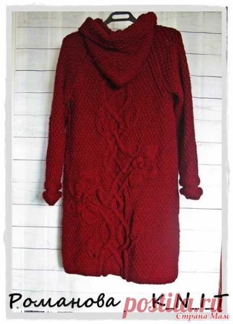 Кардиган-пальто с цветами и жгутами (спицами) - Вязание - Страна Мам