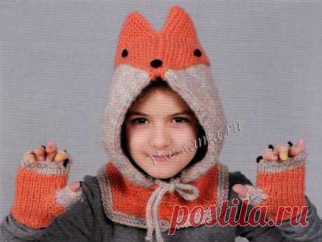 """Капюшон """"Лисичка"""" Размер: на девочку 7-10 лет."""