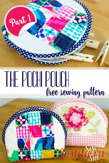 Free Pattern and Tutorial: The Pochi Pouch {part 1} — SewCanShe | Free Sewing Patterns and Tutorials Sew this cute dumpling shaped pouch using the One Yard Quilts panel from Lecien or your own fabrics!