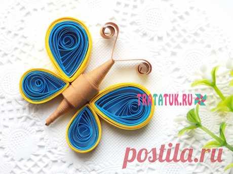 Квиллинг бабочка: пошагово для детей и начинающих Красивая квиллинг бабочка из бумажных полосок, которая затем станет частью поздравительной открытки. Пошагово для детей и начинающих.